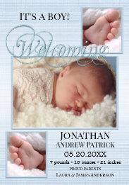 Blue Burlap Baby Boy Photo Birth Announcement Card