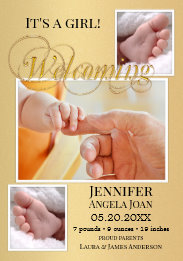 Modern Gold Stylized Photo Birth Announcement Card