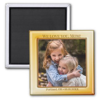 Happy Mother's Day Yellow Photo Magnet