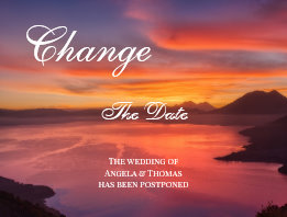 Romantic Sunset Change the Date Postcard