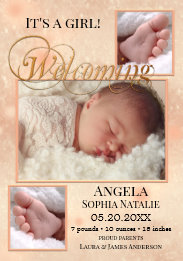 Sparkling Lights Baby Girl Photos Birth Announcement Card