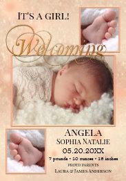Sparkling Lights Baby Girl Photos Birth Announcement Card
