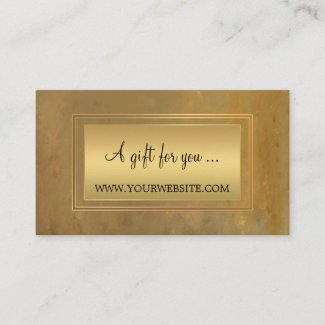 Stylish Gold Artistic Gift Certificate Template Business Card