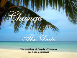 Tropical Beach Palm Tree Change the Date Postcard