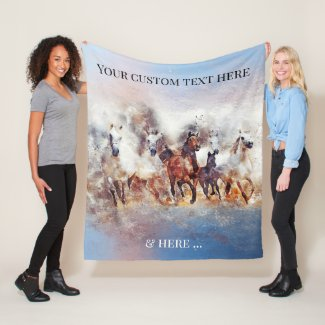Wild Running Horses Fine Art Fleece Blanket