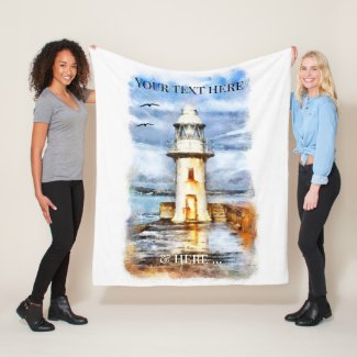 Artistic Lighthouse Coastal Fleece Blanket