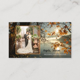 Autumn Leaves Your Photo Template Business Card