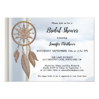 Dusty Blue Dreamcatcher Bridal Shower Invitation