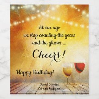 Funny artistic string lights birthday wine label