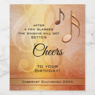 Personalized funny music themed birthday wine label