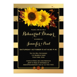 Gold Striped Sunflower Rehearsal Dinner Invitation