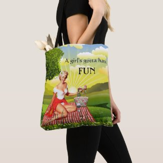 Wine lovers tote bag with summer picnic girl