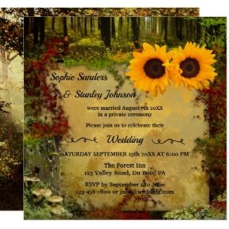 Sunflower enchanted garden or forest wedding reception invitation