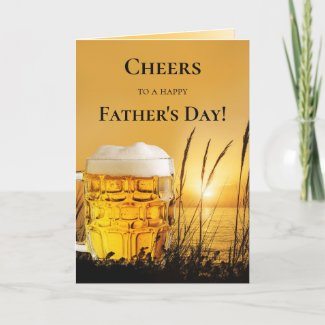 Sunset Beer Best Dad Father's Day Greeting Card