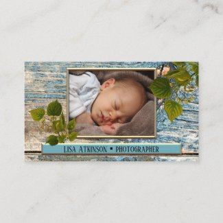 Teal Rustic Your Photo Business Card