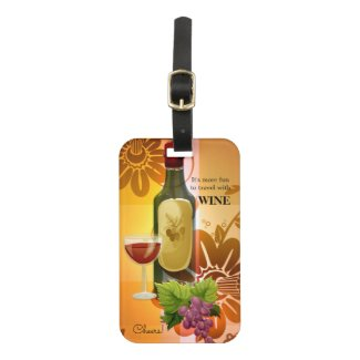Wine themed artistic design luggage tag