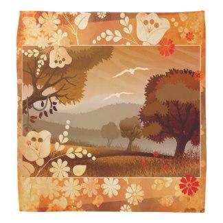 Artistic floral fall landscape design bandana