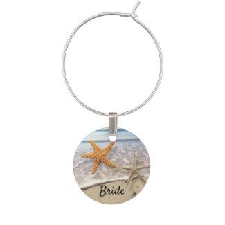 Beach starfish ocean personalized wine charm