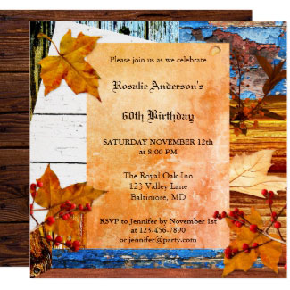 Boho chic fall birthday party invitation