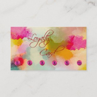 Colorful Artistic Loyalty Punch Card Business Card