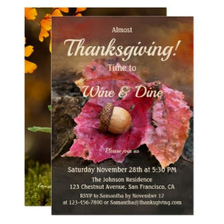 Thanksgiving fall dinner party invitation