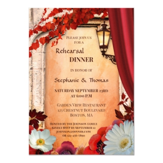 Artistic Boho Chic Floral Italian Fall Wedding Rehearsal Dinner Invitation