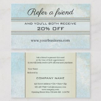 Elegant dusty blue artistic design referral business card