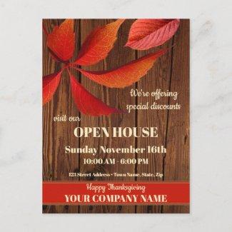 Fall Thanksgiving open house business postcard