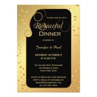 Gold Black Artistic Confetti Rehearsal Dinner Invitation