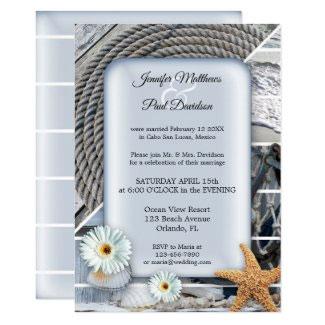 Nautical beach dusty blue wedding reception invitation