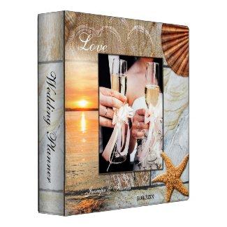 Personalized chic beach photo wedding binder