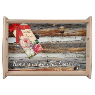 Personalized rustic romantic wood serving tray