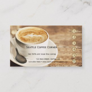 Rustic Coffee Loyalty Punch Card Business Card
