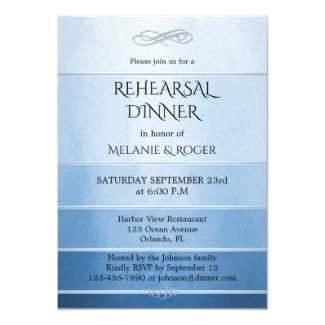 Elegant dusty blue navy striped rehearsal dinner invitation
