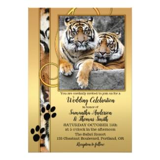 Tiger big cats zoo or safari wedding invitation