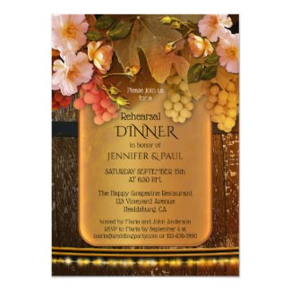 Wine Themed Winery or Vineyard Wedding Rehearsal Dinner Invitation