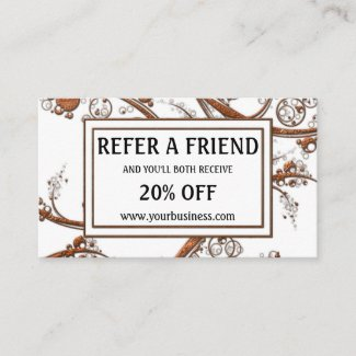 White Rose Gold Metallic Referral Business Card