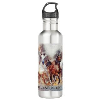Wild running horses personalized water bottle