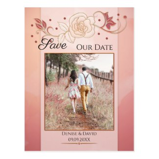 Your photo artistic rose blush pink save the date postcard