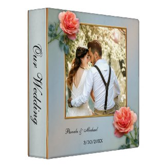 Personalized Wedding Photo Binder with peach roses