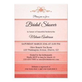 Elegant coral striped ton sur ton bridal shower invitation