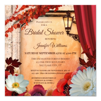 Classic Italy Inspired Fall Bridal Shower Invitation