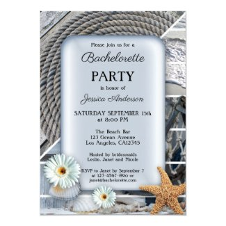 Nautical dusty blue beach bachelorette invitation