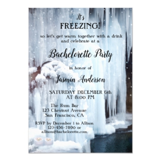 Winter waterfall sparkling lights bachelorette party invitation