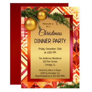 Artistic Gold Christmas Party Invitation