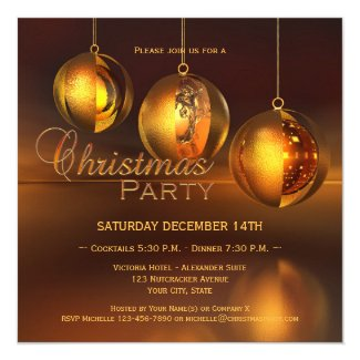 Chic gold baubles Christmas invitation