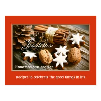 Cinnamon Star Christmas Cookies Recipe Postcard