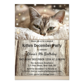 Cute kitten december birthday invitation