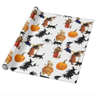 Cute vintage personalized Halloween wrapping paper