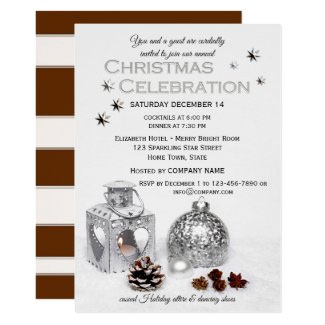Elegant silver business Christmas invitation - Christmas and New Year Party Invitations